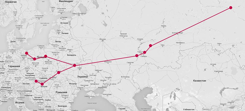 Карта нефтепровода «Дружба»